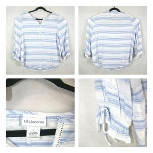 Liz Claiborne Size Large 3/4 Sleeves Striped NWOT
